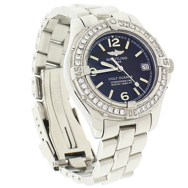 Breitling Colt Oceane SQ Stainless Steel 34MM Black Concentric Dial Ladies Watch A77350 w/Diamond Bezel