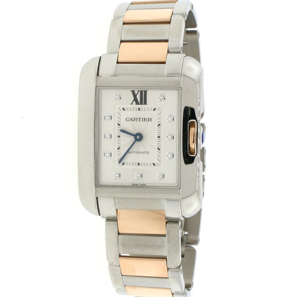 Cartier Tank Anglaise Medium 2-Tone 18K Factory Diamond Dial Automatic Watch WT100034
