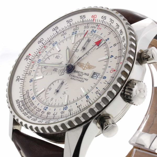 Breitling Navitimer World GMT Chronograph 46MM Automatic Stainless Steel Mens Watch A24322