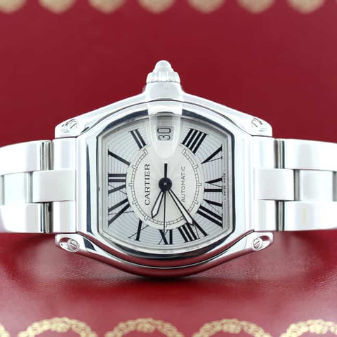 Cartier Roadster Large Silver Dial Automatic Steel Watch W62025V3 Box Papers