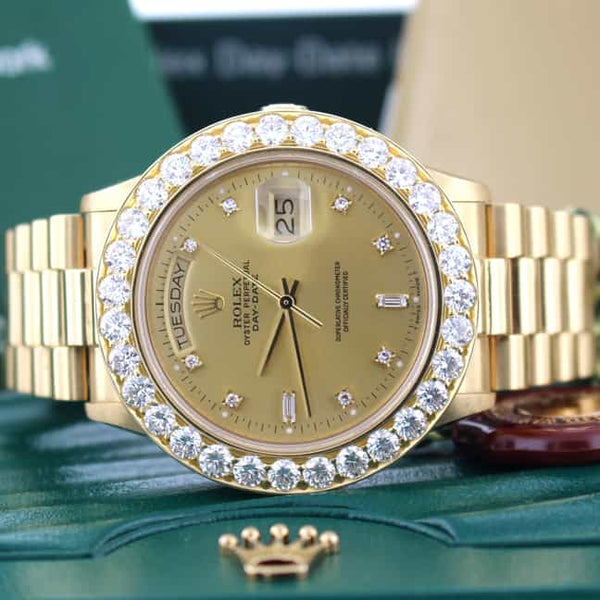 Rolex President Day-Date Original Champagne Diamond Dial 36MM Mens Watch with Custom 6CT Diamond Bezel
