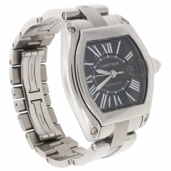 Cartier Roadster Large Black Roman Dial 44MM Automatic Stainless Steel Mens Watch W62041V3