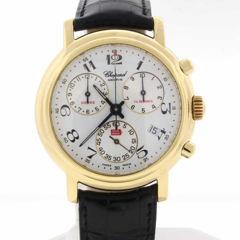 Chopard Mille Miglia Chronograph 18K Yellow Gold 39MM Silver Dial Mens Watch 2250