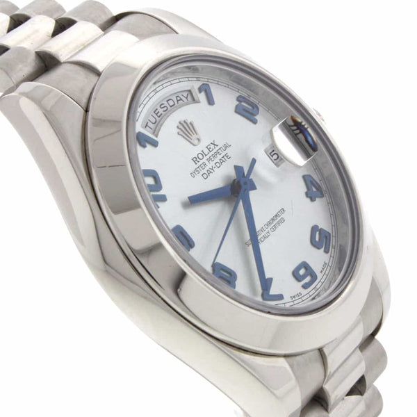 Rolex President Day-Date II Original Ice Blue Arabic Dial Platinum 41MM Automatic Mens Watch 218206