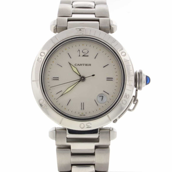 Cartier Pasha Silver Dial 38MM Automatic Stainless Steel Mens Watch 1040