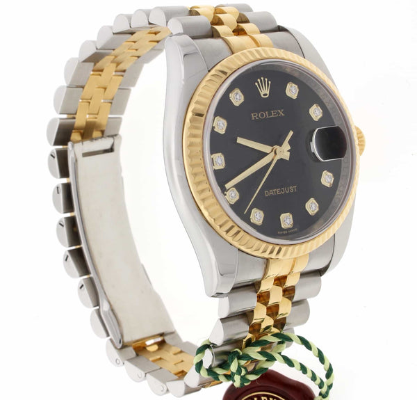 Rolex Datejust Original Black Jubilee Diamond Dial 2-Tone Yellow Gold/Steel 36MM Automatic Mens Watch 116233