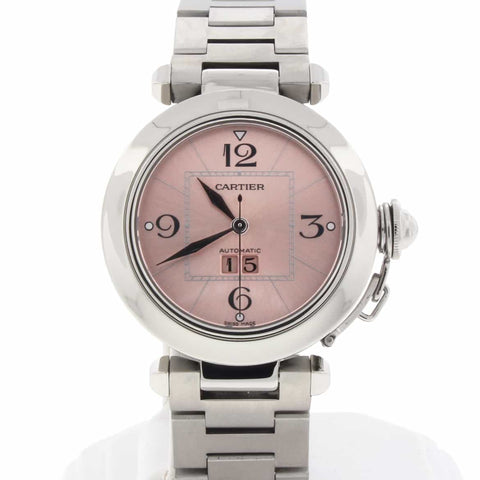 Cartier Pasha C Big Date Pink Dial 35mm Automatic Stainless Steel Watch W31075M7
