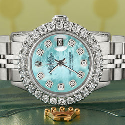 Rolex Datejust Steel 26mm Jubilee Watch 2CT Diamond Bezel / Aquamarine MOP Dial