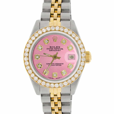 Rolex Datejust Ladies 2-Tone 18K Gold/SS 26mm Watch with Hot Pink Dial & Diamond Bezel