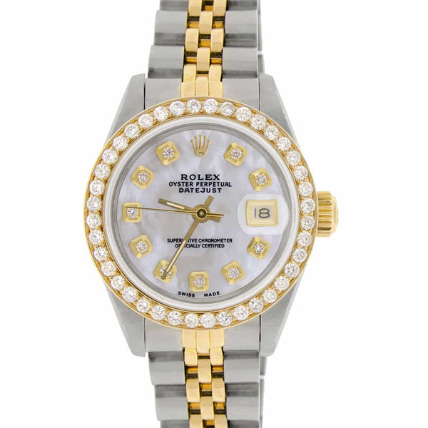 Rolex Datejust Ladies 2-Tone 18K Gold/SS 26mm Watch with MOP Dial & Diamond Bezel