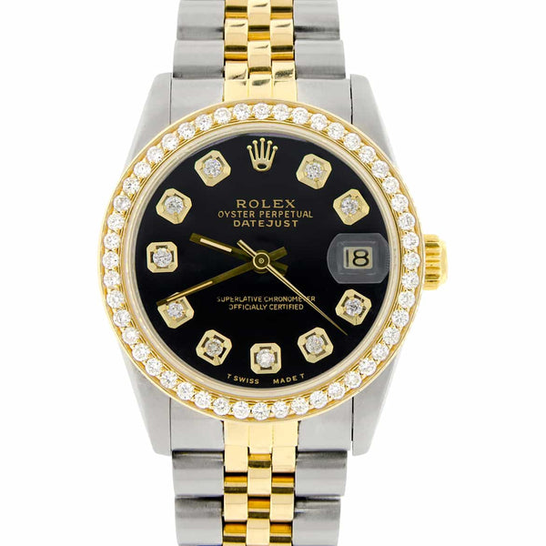 Rolex Datejust 2-Tone 18K Gold/SS Midsize 31mm Womens Watch with Black Dial & Diamond Bezel