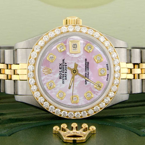 Rolex Datejust Ladies 2-Tone 18K Gold/SS 26mm Watch with Pink MOP Dial & Diamond Bezel