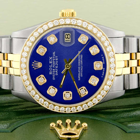 Rolex Datejust 2-Tone 18K Gold/SS Midsize 31mm Womens Watch with Blue Dial & Diamond Bezel