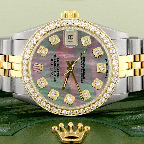 Rolex Datejust 2-Tone 18K Gold/SS Midsize 31mm Womens Watch with Tahitian MOP Dial & Diamond Bezel