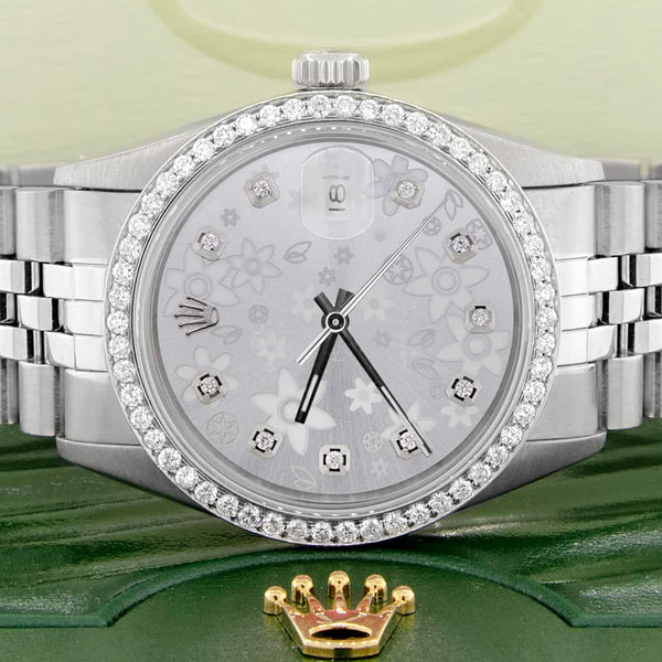 Rolex Datejust 36MM Automatic Stainless Steel Watch w/Flower Dial & Diamond Bezel
