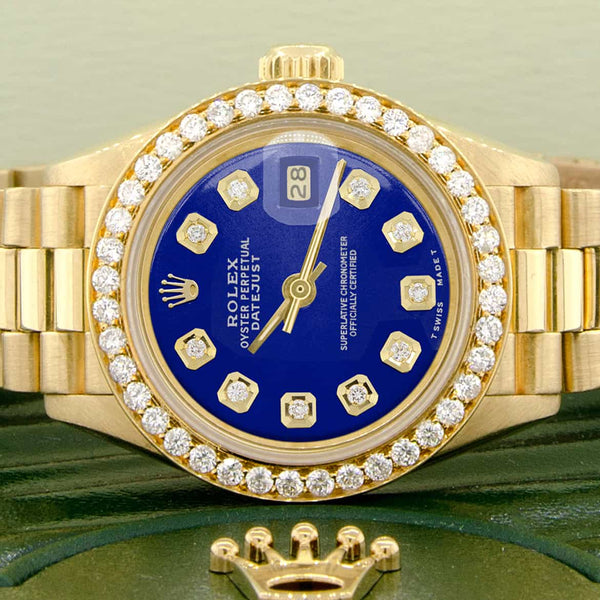 Rolex President Datejust Ladies 18K Yellow Gold 26MM Watch w/Royal Blue Dial & Diamond Bezel