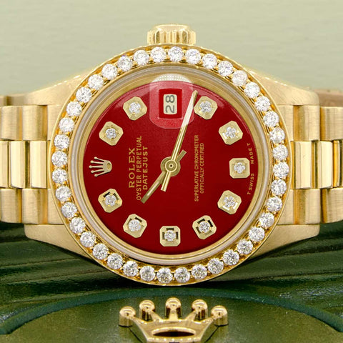 Rolex President Datejust Ladies 18K Yellow Gold 26MM Watch w/Imperial Red Dial & Diamond Bezel