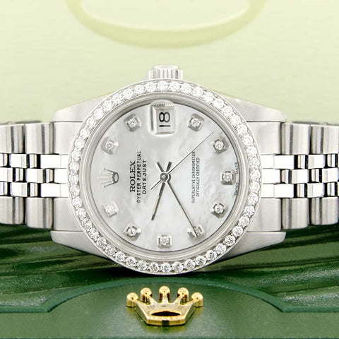 Rolex Datejust Midsize 31MM Automatic Steel Women's Watch w/MOP Diamond Dial & Bezel