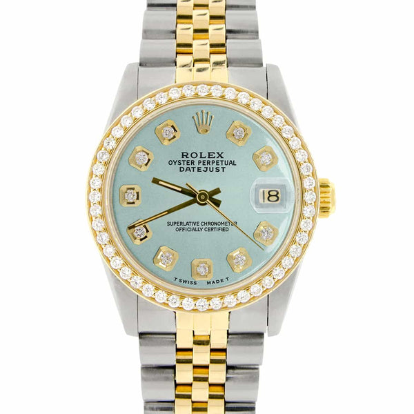 Rolex Datejust 2-Tone 18K Gold/SS Midsize 31mm Womens Watch with Baby Blue Dial & Diamond Bezel