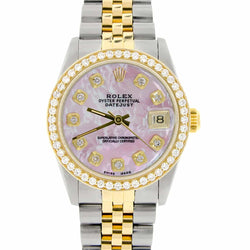Rolex Datejust 2-Tone 18K Gold/SS Midsize 31mm Womens Watch with Pink MOP Dial & Diamond Bezel