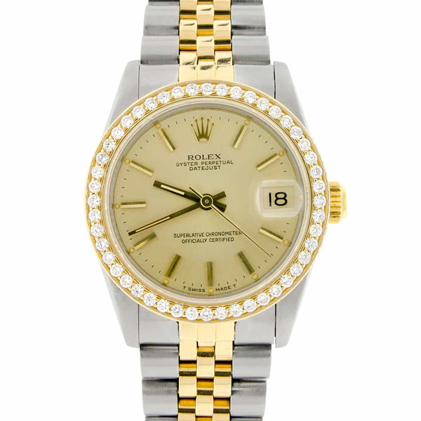 Rolex Datejust 2-Tone 18K Gold/SS Original Champagne Dial Midsize 31mm Womens Watch with Diamond Bezel
