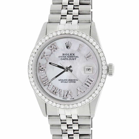 Rolex Datejust 36MM Automatic Stainless Steel Watch w/MOP Roman Dial & Diamond Bezel