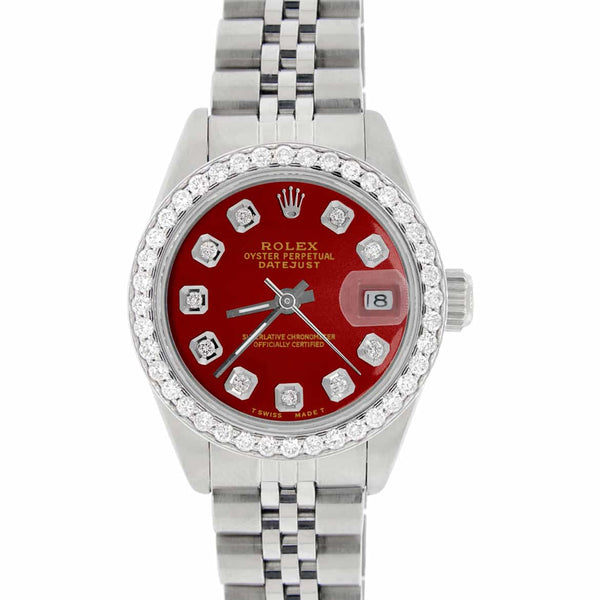 Rolex Datejust Ladies 26MM Automatic Steel Watch w/Imperial Red Dial & Diamond Bezel