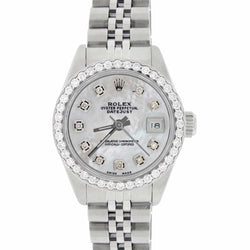 Rolex Datejust Ladies 26MM Automatic Steel Watch w/White MOP Dial & Diamond Bezel