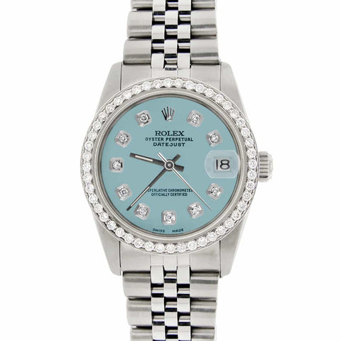 Rolex Datejust Midsize 31MM Automatic Stainless Steel Women's Watch w/Ice Blue Dial & Diamond Bezel