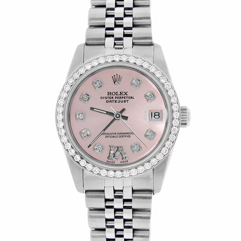 Rolex Datejust Midsize 31MM Automatic Stainless Steel Women's Watch w/Pink Dial & Diamond Bezel
