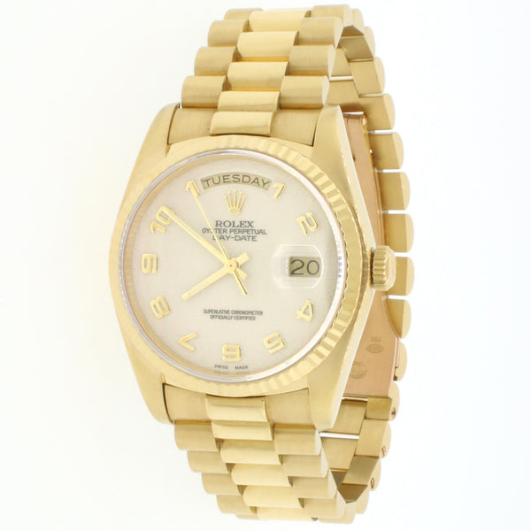 Rolex President Day-Date 18K Yellow Gold 36MM Ivory Jubilee Arabic Dial Watch Box Papers