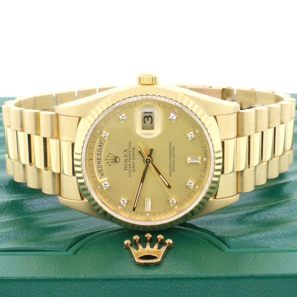 Rolex President Day-Date 36MM 18K Yellow Gold Double Quick Watch Factory Diamond Dial 18238