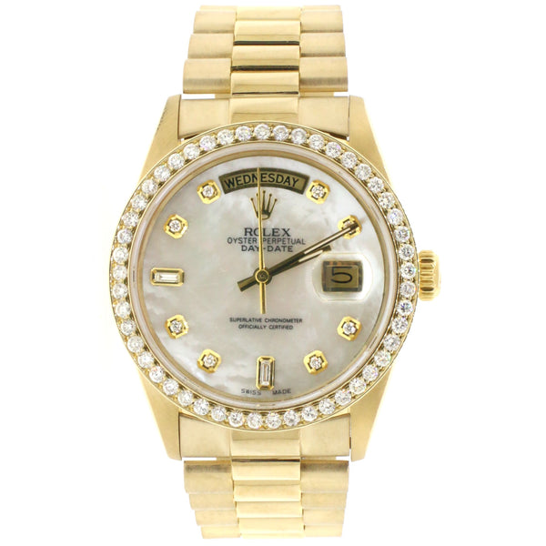 Rolex President Day-Date 18K Gold 36MM with Diamond Dial and Bezel
