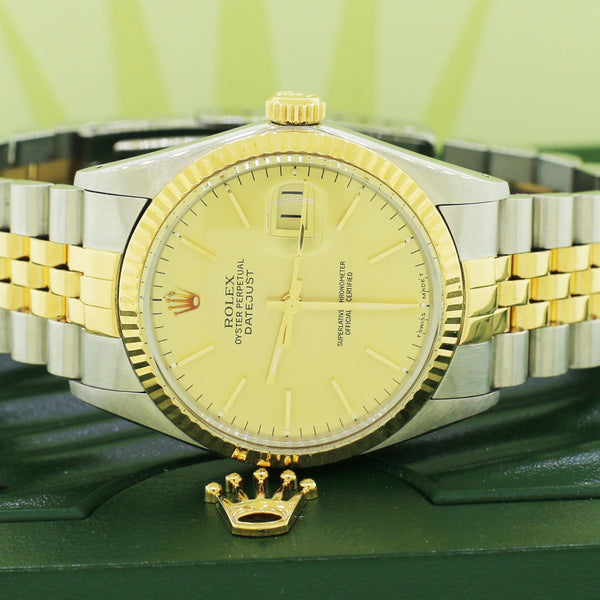 Rolex Datejust 2-Tone Champagne Dial 36mm Jubilee Watch 16013