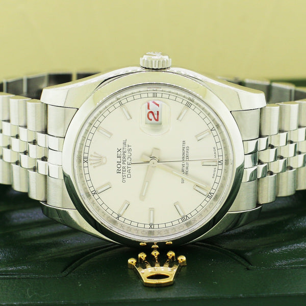 Rolex Datejust Silver Index Dial 36mm Steel Jubilee Watch 116200 Box Papers