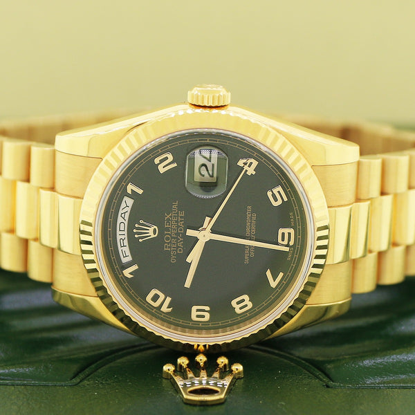 Rolex President Day-Date Black Arabic Dial 18K Rose Gold 36mm Automatic Watch 118235 Box Papers