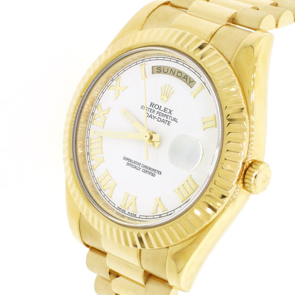 Rolex President Day-Date II White Roman Dial 18K Yellow Gold 41mm Mens Watch 218238