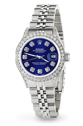 Rolex Datejust 26mm Steel Jubilee Diamond Watch with Navy Blue Dial