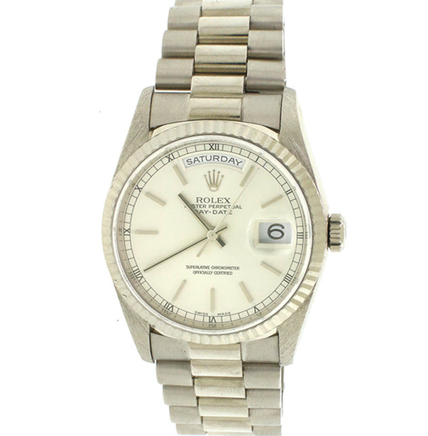 Rolex President Day-Date 18K White Gold 36MM Double-Quickset Automatic Mens Watch 18239