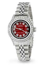 Rolex Datejust 26mm Steel Jubilee Diamond Watch with Red Vignette Dial