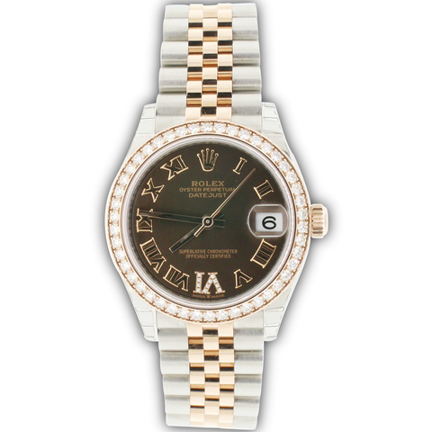 Rolex Datejust 31MM 2-Tone 18K Everose Gold/ Steel Chocolate Roman Dial Ladies Watch Box Papers