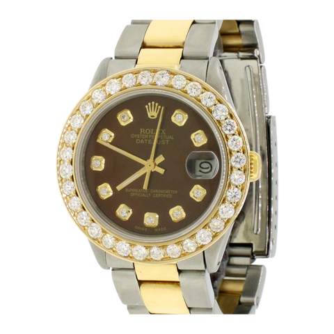Rolex Datejust 31mm Yellow Gold/Steel Oyster Watch w/2.25Ct Diamond Bezel