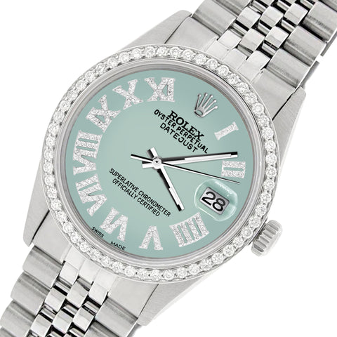 Rolex Datejust 36MM Automatic Stainless Steel Watch w/ Pastel Blue Roman Dial & Diamond Bezel