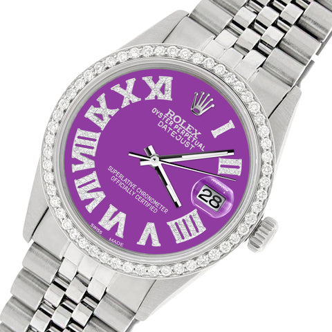 Rolex Datejust 36MM Automatic Stainless Steel Watch w/ Pastel Purple Roman Dial & Diamond Bezel