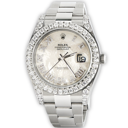 Rolex Datejust II Steel 41mm Watch 4.5CT Diamond Bezel/Lugs/White MOP Roman Dial