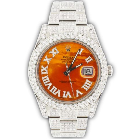Rolex Datejust II Steel Orange MOP Roman Dial 41mm Diamond Watch Box Papers 116300