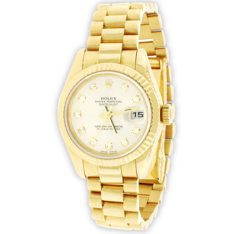 Rolex President Datejust Factory Diamond Dial Yellow Gold 26mm Ladies Watch 179178