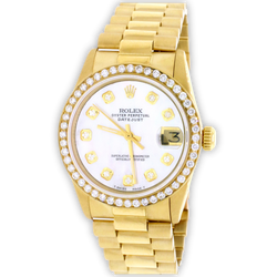 Rolex President Datejust Midsize 18K Yellow Gold 31MM Automatic Watch w/MOP Diamond Dial & Bezel
