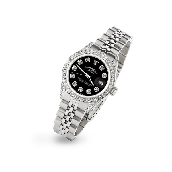 Rolex Datejust 26mm Steel Jubilee Diamond Watch with Black MOP Dial