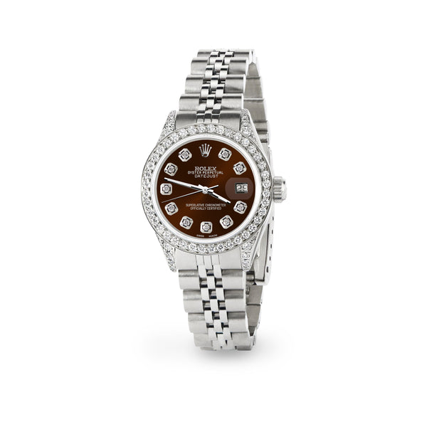 Rolex Datejust 26mm Steel Jubilee Diamond Watch with Chocolate Dial